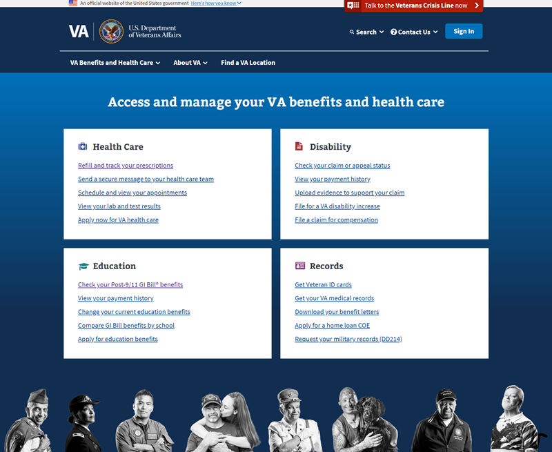 The new VA dot gov website