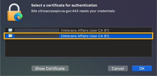 certificate selection in Chrome and Edge