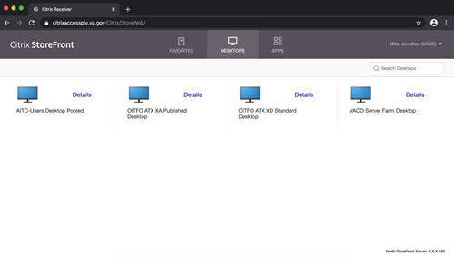 Citrix storefront with options to choose various desktops